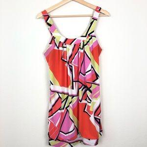 Blush Neon Colored Geometric SleevelessMini Dress